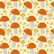 Mushrooms seamless pattern. Boletus edulis endless background, texture. Veg.. Stock Illustration