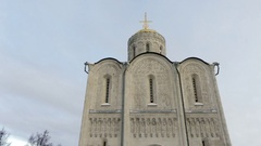 Old orthodox white stoned cathedral Stock Footage