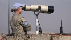 Female United Nations soldier, observatory status Golan Heights Israel Syria Stock Footage