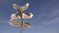 Direction sign towards Middle Eastern cities on Golan Heights, Israel Stock Footage