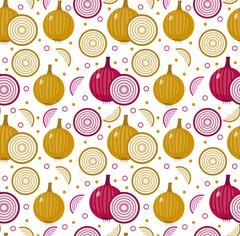 Onions seamless pattern. Bulb onion endless background, texture. Vegetable .. Stock Illustration
