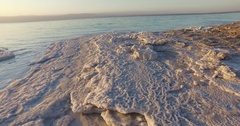 Dead Sea salt deposits stones white crystals Stock Footage