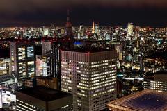 Tokyo skyline at night of Shinjuku area. Japan. Stock Photos