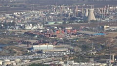 Major industrial zone with smokestacks of petrochemical facility Haifa, Israel Stock Footage