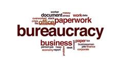 Bureaucracy animated word cloud, text design animation. Stock Footage