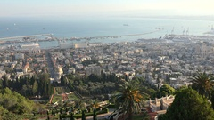 Panoramic view of the Bahai Gardens and the skyline of Haifa Stock Footage