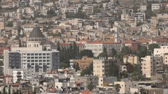 View towards the famous Basilica of Annunciation in Nazareth Stock Footage
