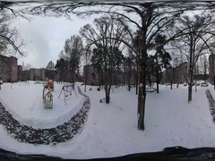 360 vr Video Panorama of Kids' Playground Winter Cityscape Park in Residential Stock Footage
