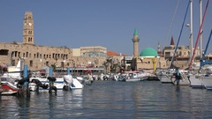 Marina of Akko (Acre) in Northern Israel, ancient city and mosque Stock Footage