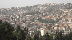 Panoramic overview of Nazareth in Northern Israel Stock Footage