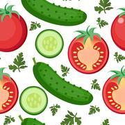 Salad seamless pattern. Tomato and cucumber endless background, texture. Ve.. Stock Illustration