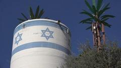 Water tank in Israeli settlement in Hebron, West Bank Stock Footage