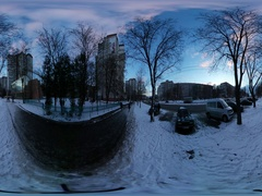 360 vr Video Chernihiv Street in Christmas Wintry Landscape People Walk by Stock Footage