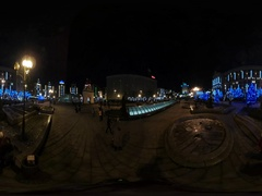 360 vr Video Brightly Decorated New Year Night Cityscape of Kiev Blue Stock Footage