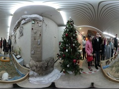 360 vr Video Christmas in Kiev Animal Exhibition Kids Are Looking at White Stock Footage