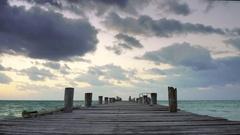 Empty Wooden Pier Ocean Horizon Stock Footage