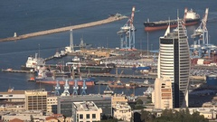 Petroleum storage tanks at the Haifa port in Northern Israel Stock Footage