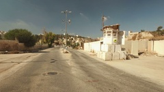 Empty streets  Jewish settlement in downtown Hebron West Bank Stock Footage