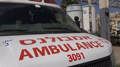 Israeli ambulance in the Jewish quarter of Hebron in the West Bank Stock Footage