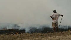 India agriculture, burning fields for next season Stock Footage