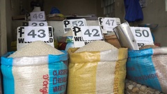 Rice at the asian market Stock Footage