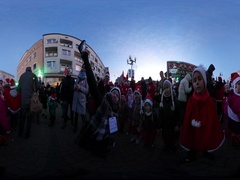 360Vr Video Saint Nicholas' Day in Opole Poland Kids in Santa Claus' Clothes Stock Footage