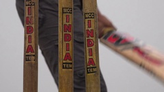 Closeup of three wickets, used by local boys playing cricket in Kolkata, India Stock Footage