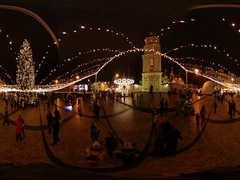 360 vr Video New Year Celebration in Kiev People Near Sophia Square Bell Tower Stock Footage
