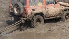 4x4 off road vehicle trying to help Stock Footage