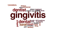 Gingivitis animated word cloud, text design animation. Stock Footage