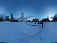 360 vr Video Exterior of the Orthodox Church White and Red Block Religious Stock Footage