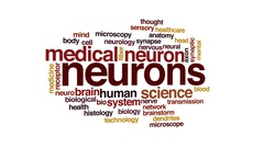 Neurons animated word cloud, text design animation. Stock Footage