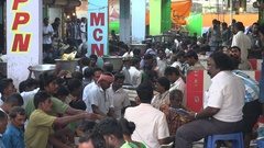 Tough negotiations at a busy fish market in central Chennai city in India Stock Footage