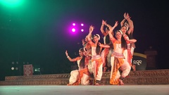 Female Indian dance group in classic traditional pose on stage Stock Footage