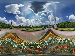 360 vr Video Zarvanytsia Bell Towers Sacred Complex Cobblestone Square Greek Stock Footage