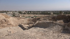 Excavated archaeological site in Jericho, the oldest city in the world Stock Footage