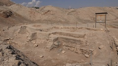 Excavated archaeological site in Jericho in the West Bank Stock Footage