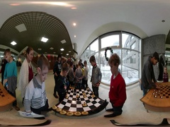 360 vr Video New Year in Kiev Chess and Checkers Children's Development Master Stock Footage