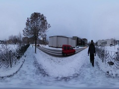 360 vr Video a Man Walks Through the City. Winter Uncrowded City. Province, a Stock Footage