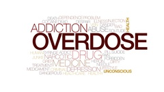 Overdose animated word cloud, text design animation. Kinetic typography. Stock Footage