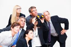 Business Team Looking In The Same Direction Stock Photos