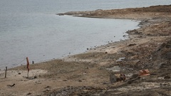 Polluted beach along the Dead Sea in the West Bank Stock Footage