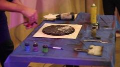 Spray art. painting planet Stock Footage