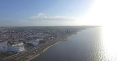 Capeche Malecon and Sea aerial view Stock Footage