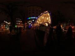 360 vr Video New Year Eve Kiev Night Cityscape People Walking by Sidewalk Stock Footage