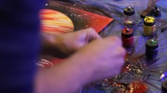 Spray art. planet in space Stock Footage