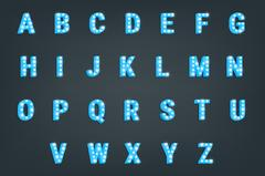 Font. Typeface with glowing lights . Shiny letters Stock Illustration