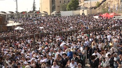 Diverse crowd attends priestly blessing ceremony in Jerusalem, Israel Stock Footage