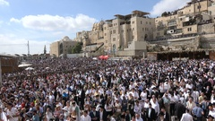 Israel religion, crowds of people at Western Wall square Jerusalem Stock Footage