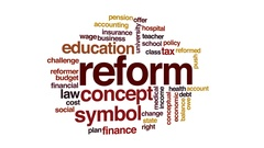 Reform animated word cloud, text design animation. Stock Footage
